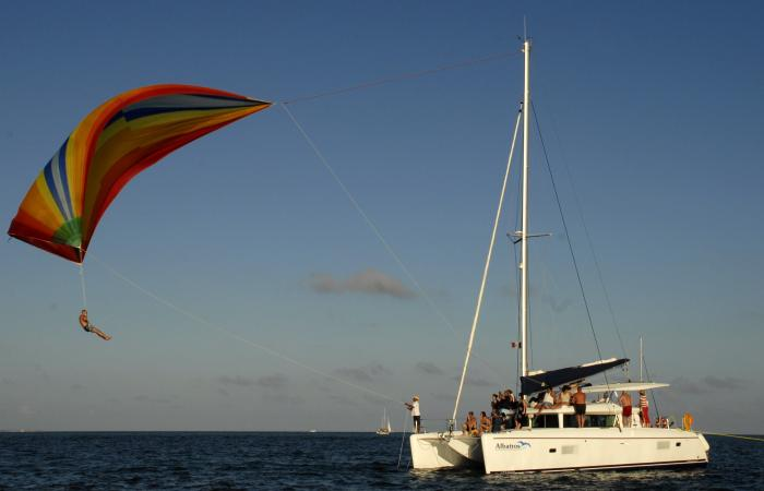 Overnight at ocean with this sail catamaran